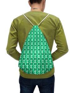"""Рюкзак с полной запечаткой """"Ретро #1"""" - светлый, зеленый, волны, круги, темный"""