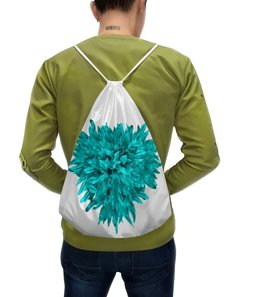 """Рюкзак-мешок с полной запечаткой """"Яркая жизнь """" - сердце, цветы, букет, хризантемы, голубые цветы"""
