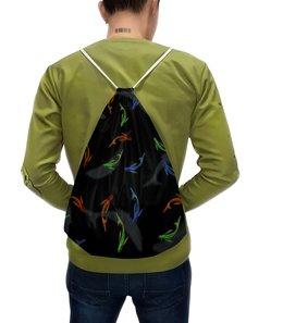 """Рюкзак с полной запечаткой """"Рыбки"""" - силуэт, черный, разноцветный, рыбки, кои"""