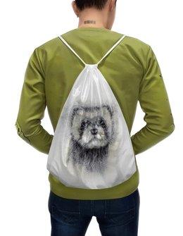 """Рюкзак-мешок с полной запечаткой """"Рисунок животного хорька."""" - хищник, абстракция, животное, норка, хорёк"""