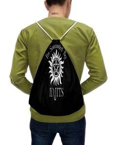 """Рюкзак с полной запечаткой """"Im surrounded by idjits"""" - звезда, надписи, черно-белые, буквы, я окружен идиотами"""