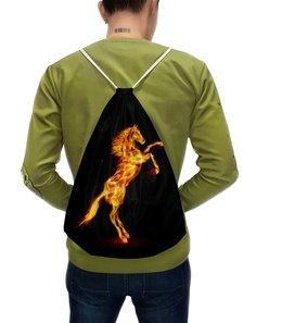 """Рюкзак с полной запечаткой """"Огненная лошадь"""" - лошадь, огонь"""