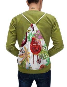 """Рюкзак-мешок с полной запечаткой """"Птица"""" - лето, птицы, природа, тропики, фламинго"""