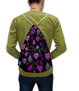 """Рюкзак с полной запечаткой """"I LOVE YOU"""" - сердце, любовь, день валентина, я люблю, i love you"""