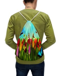 """Рюкзак с полной запечаткой """"Природа"""" - бабочки, цветы, весна, природа, трава"""