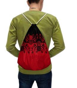 """Рюкзак с полной запечаткой """"Красно-черный"""" - цветы, узор, орнамент, половина, красно-черный"""
