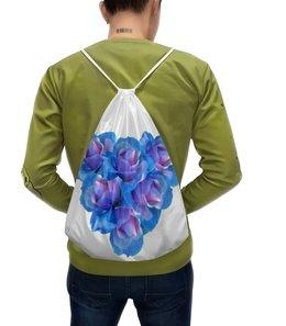"""Рюкзак-мешок с полной запечаткой """"Яркое сердце"""" - сердце, цветы, розы, букет, голубые цветы"""