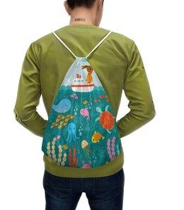 """Рюкзак-мешок с полной запечаткой """"Морская прогулка"""" - кораблик, рисунок, детский, зайчик, морской"""