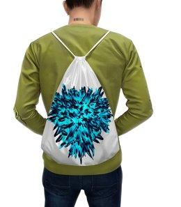 """Рюкзак-мешок с полной запечаткой """"Ледяной синий"""" - сердце, цветы, букет, хризантемы, синие цветы"""