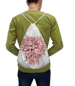 """Рюкзак-мешок с полной запечаткой """"Стильный розовый """" - сердце, цветы, букет, хризантемы, нежные цветы"""