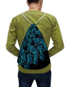 """Рюкзак с полной запечаткой """"Орнамент из голубых листьев гинкго"""" - голубой, орнамент, венок, гинкго"""