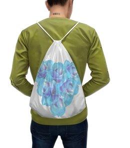 """Рюкзак-мешок с полной запечаткой """"Голубая пастель """" - сердце, цветы, розы, букет, нежные цветы"""