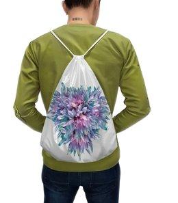 """Рюкзак-мешок с полной запечаткой """"Акварельное буйство """" - сердце, цветы, пастель, букет, акварельные цветы"""