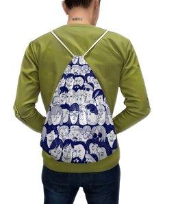 """Рюкзак с полной запечаткой """"Многоликий"""" - человек, лица, люди, народ, толпа"""