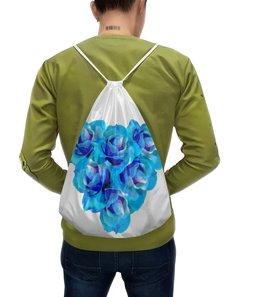 """Рюкзак-мешок с полной запечаткой """"Ослепительное сердце"""" - сердце, цветы, розы, букет, голубые цветы"""