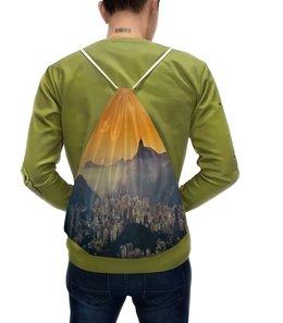 """Рюкзак с полной запечаткой """"Город в горах"""" - город, природа, горы, пейзаж, здания"""