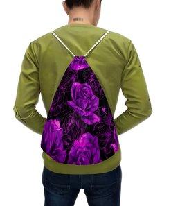 """Рюкзак-мешок с полной запечаткой """"Розы в цвету"""" - цветы, фиолетовый, весна, цветочки, розы"""