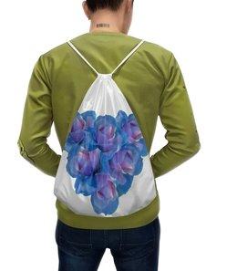 """Рюкзак-мешок с полной запечаткой """"Голубое сердце """" - сердце, цветы, розы, букет, голубые цветы"""