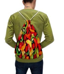 """Рюкзак-мешок с полной запечаткой """"Фруктовый микс"""" - лето, еда, фрукты, ягоды, клубника"""