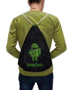 """Рюкзак-мешок с полной запечаткой """"Аплдроид"""" - яблоко, андроид, гибрид"""