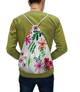 """Рюкзак-мешок с полной запечаткой """"Цветы на белом"""" - цветы, листья, весна, счастье, красные цветы"""