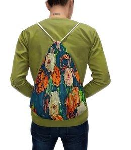 """Рюкзак-мешок с полной запечаткой """"Flowers"""" - цветы, узор, весна, цветочки, пионы"""