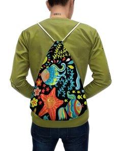 """Рюкзак-мешок с полной запечаткой """"Обитатели моря"""" - море, рыбки, водоросли, морская звезда, морские обитатели"""