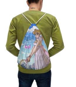 "Рюкзак с полной запечаткой ""Fight like a girl"" - girl, princess, sailor moon"