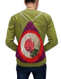 """Рюкзак-мешок с полной запечаткой """"Нежный мотив."""" - романтика, роза, розы, алая роза, бордо"""