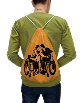 """Рюкзак-мешок с полной запечаткой """"Влюблённая пара."""" - любовь, мужчина, женщина, пара, инвалиды"""