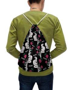 """Рюкзак-мешок с полной запечаткой """"Череп с цветами"""" - skull, череп, змея, роза, кости"""