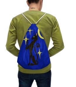 """Рюкзак с полной запечаткой """"Ночная кошка"""" - коты, кошка, ночь, звезда, луна"""