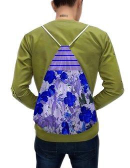 """Рюкзак-мешок с полной запечаткой """"Синие цветы."""" - цветы, сиреневый, полосы, синий, лиловый"""