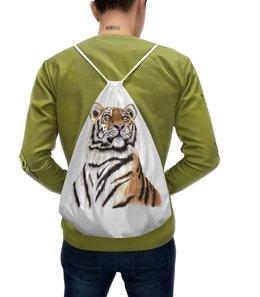 """Рюкзак-мешок с полной запечаткой """"Взгляд тигра"""" - хищник, животные, взгляд, тигр, зверь"""