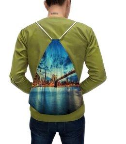 """Рюкзак с полной запечаткой """"Мост через реку"""" - мост, река, вода, пейзаж, природа"""