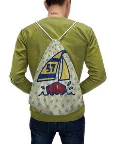 """Рюкзак с полной запечаткой """"Кораблик"""" - пальма, кораблик, рыбки, яхта, парус"""
