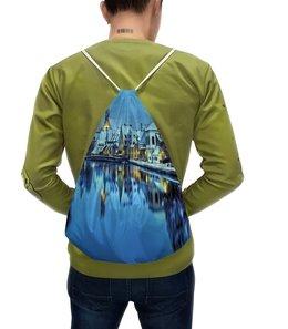 """Рюкзак с полной запечаткой """"Зимний пейзаж"""" - зима, снег, город, мегаполис, вода"""