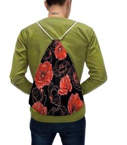"""Рюкзак с полной запечаткой """"Цветы"""" - цветы, маки, весна, узор, природа"""