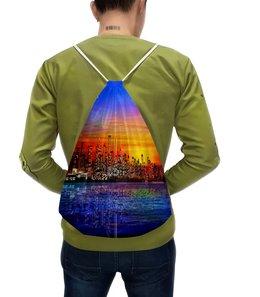 """Рюкзак с полной запечаткой """"Ночной город"""" - город, ночь, краски, вода, мегаполис"""