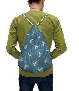 """Рюкзак с полной запечаткой """"Бабочки"""" - бабочки, крылья, голубой, желтый, насекомые"""