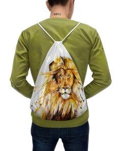 """Рюкзак-мешок с полной запечаткой """"Львиный зов"""" - царь, лев, мужчина, зверь, животное"""