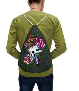 """Рюкзак с полной запечаткой """"Череп"""" - череп, роза, кинжал, змей"""