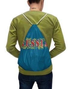 """Рюкзак с полной запечаткой """"Russia"""" - белый, красный, россия, синий, хохлома"""