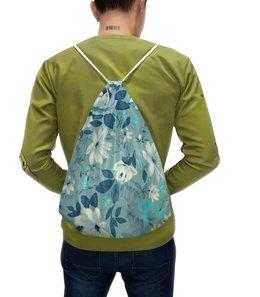 """Рюкзак с полной запечаткой """"Цветы. Акварель"""" - цветы, голубой, лист, роза, лепесток"""