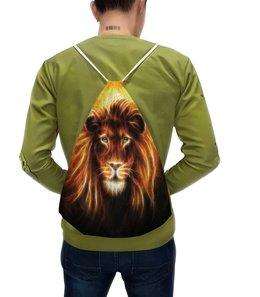 """Рюкзак с полной запечаткой """"Огненный лев"""" - лев, огонь, животное"""