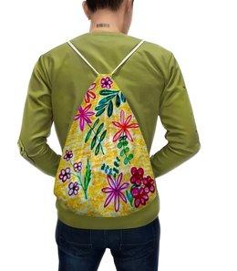 """Рюкзак-мешок с полной запечаткой """"Цветы на желтом"""" - красиво, цветы, листья, счастье, красные цветы"""