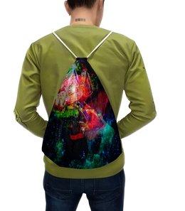 """Рюкзак с полной запечаткой """"Галактическая избенка"""" - коллаж, яркий, акварель, домики, фантазийный пейзаж"""