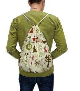 """Рюкзак-мешок с полной запечаткой """"Новогодний"""" - снеговик"""