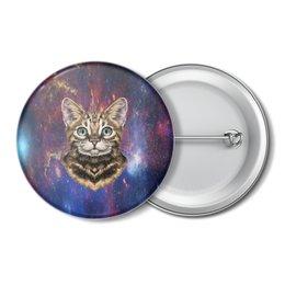 """Значок """"Кот в космосе"""" - кот, звезды, котенок, космос, коты в космосе"""