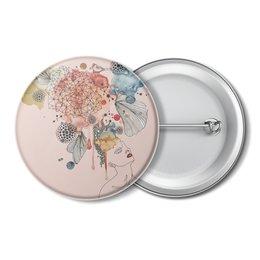"""Значок """"Абстрактная акварель"""" - абстракция, акварель, пастель, шебби шик, пудровый розовый"""